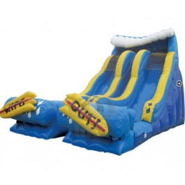24ft Dual Lane Wipe Out Water Slide